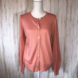 Loft cardigan with puff sleeve in peach